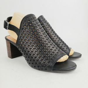 Lucky Brand Black Woven Leather Slingbacks 8 1/2 …